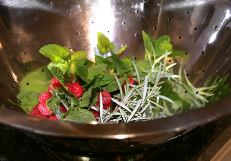 Rosemary, Mint, & Raspberries