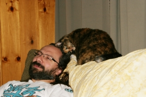 Meadow giving my husband love.
