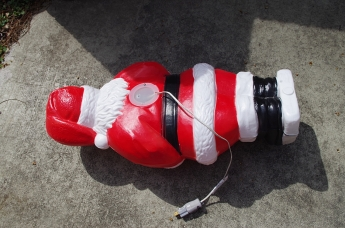 Santa, face down.