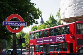 Underground sign and London bus