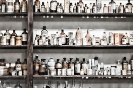 Apothecary bottles on shelf 7330 sm