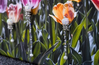 olorful tulips with dangling beads