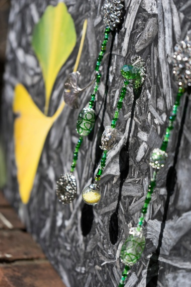 Gingkos with dangling beads and silver gingko leaves