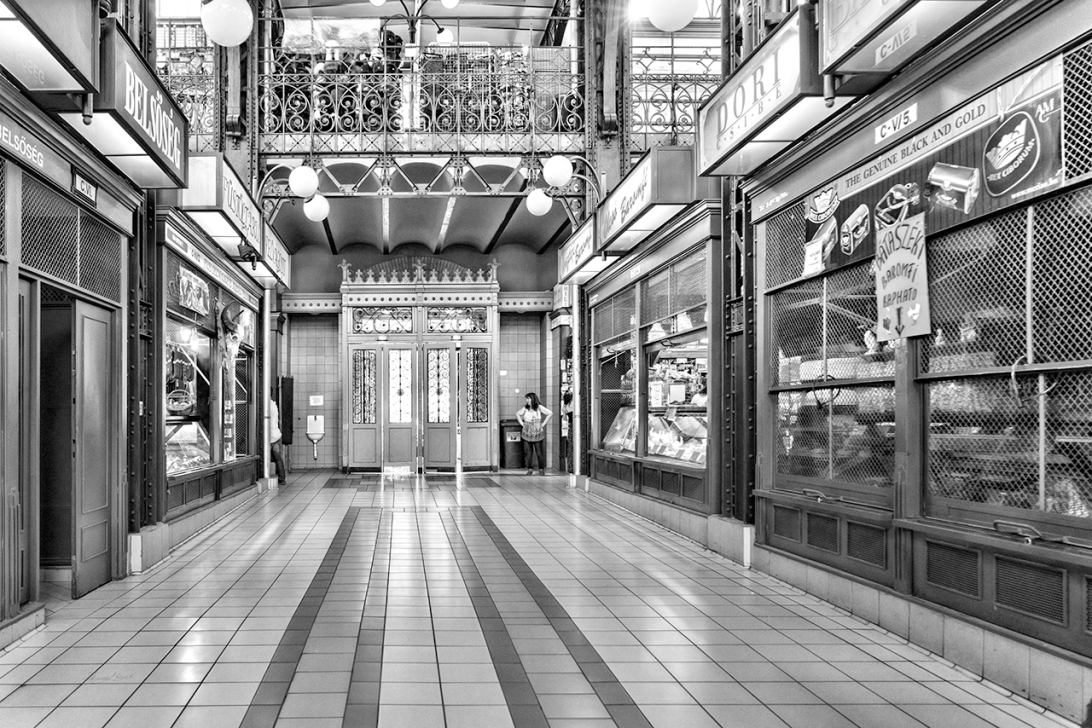 Market Entrance BW by Sharon Popek